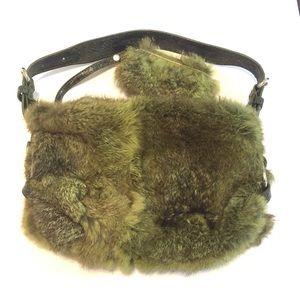 Olive Green Dyed Rabbit Fur Purse